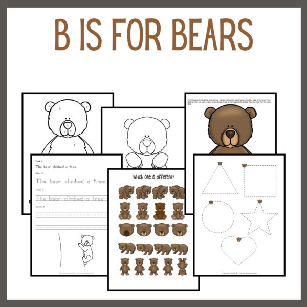 B is for Bears Preschool Learning Pack
