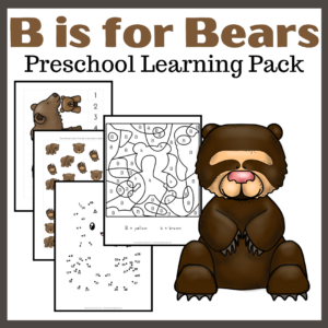 B is for Bears Preschool Learning Pack