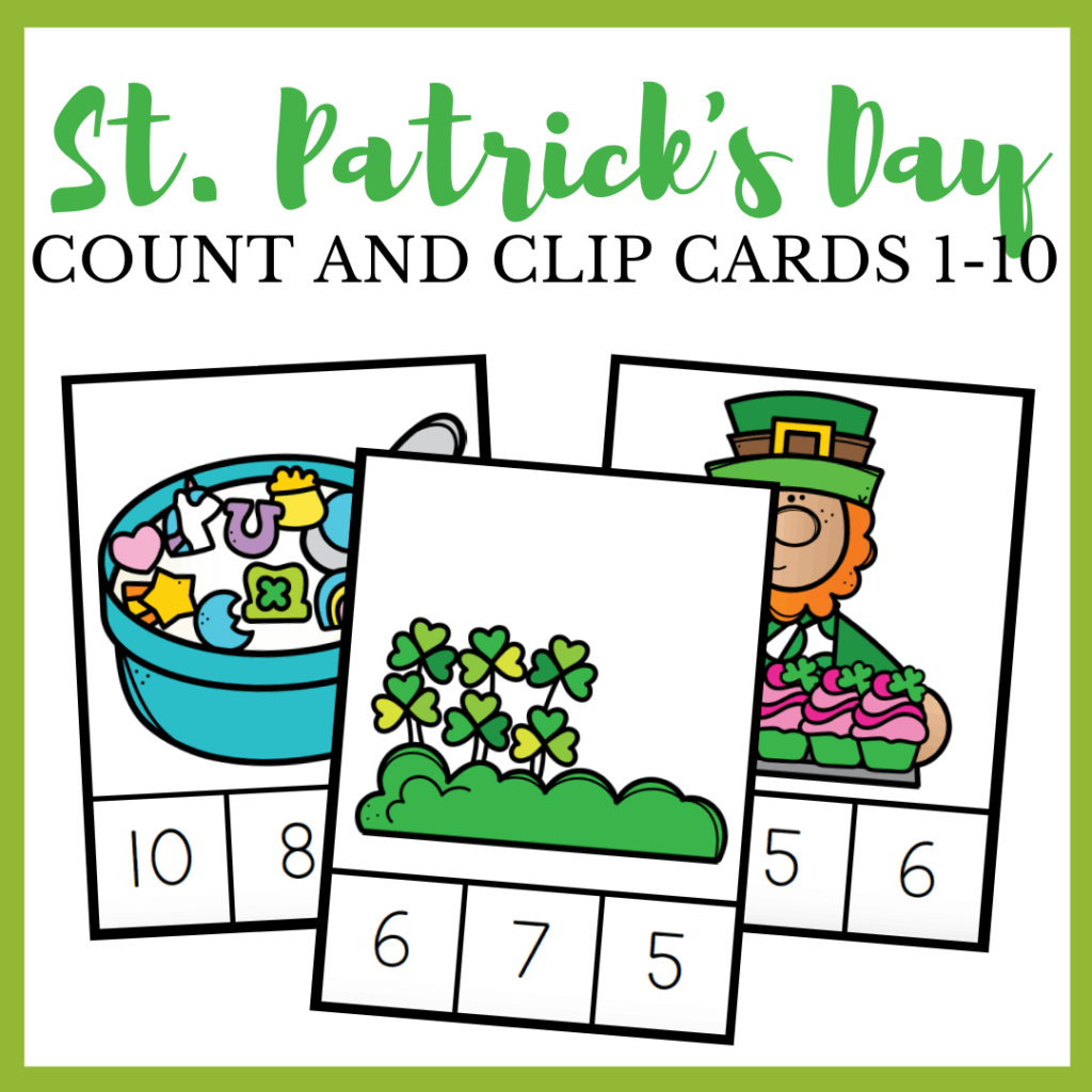 St Patrick Count and Clip Cards