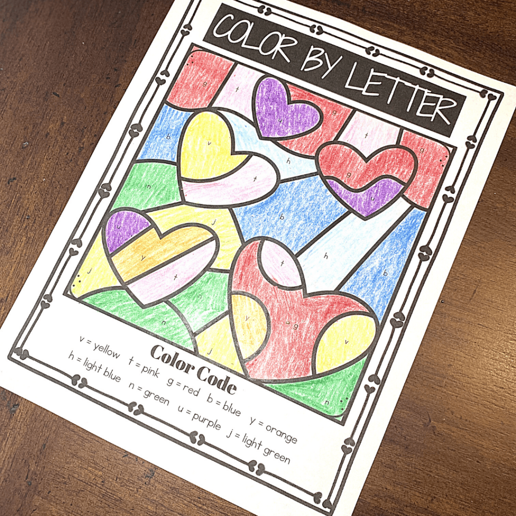 Lowercase Color By Letter Valentine Worksheets