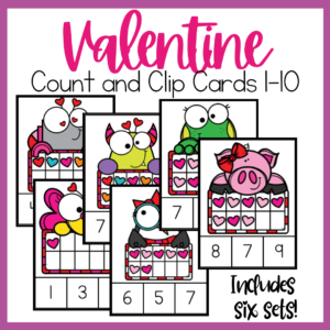 Valentine Count and Clip Cards