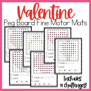 Valentine Peg Board Fine Motor Mats